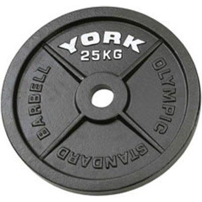 York 25kg Hammertone Cast Iron Olympic Plate
