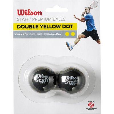 Wilson Staff Double Yellow Dot Squash Balls   Pack of 2 - 0887768224899