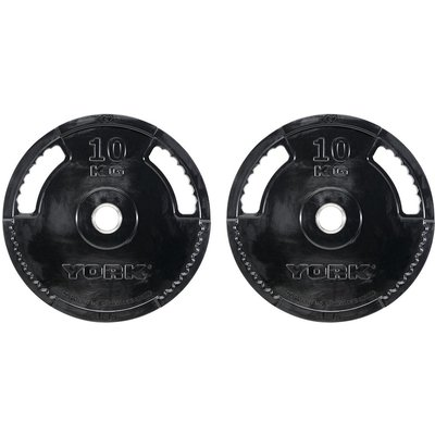 York 2 x 10kg G2 Rubber Thin Line Olympic Weight Plates