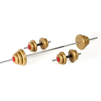 York 35kg Gold Vinyl Spinlock Dumbbell and Barbell Weight Set