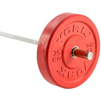 York Solid Rubber Bumper Olympic Coloured Weight Plates - 1 x 25kg