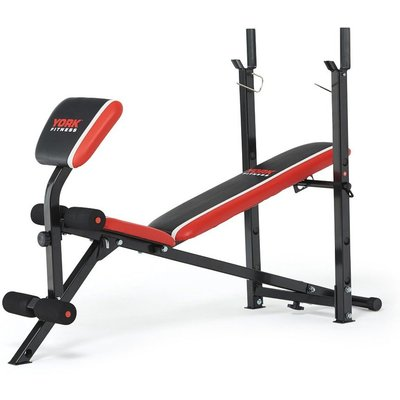 York Warrior 2 in 1 Folding Barbell and Ab Bench with Curl