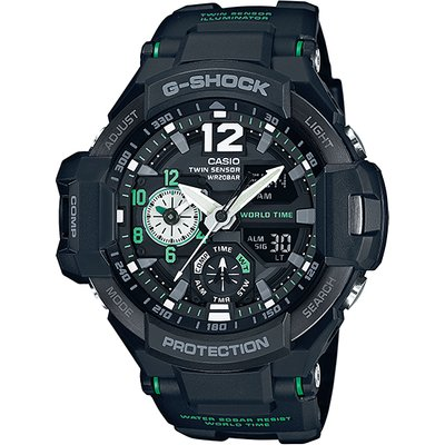 Casio G-SHOCK GRAVITYMASTER 200M Water Resistance Analog-Digital Watch GA-1100-1A3 - Black + Green