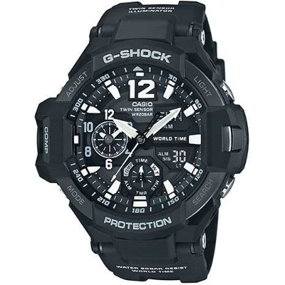 Casio G-SHOCK GRAVITYMASTER 200M Water Resistance Analog-Digital Watch GA-1100-1A - Black