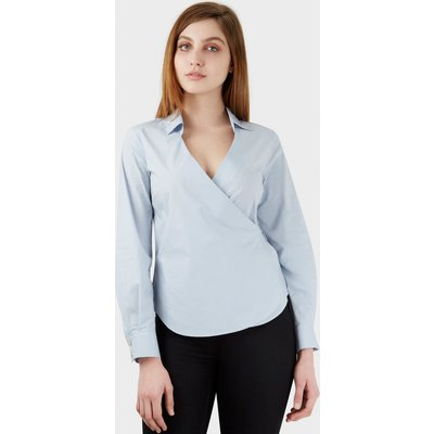 Pale Tie Wrap Over Long Sleeve Blouse