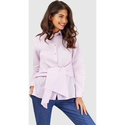 Pink Tie Front Long Sleeve Blouse