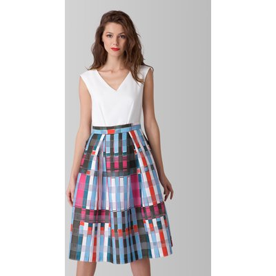 Closet GOLD Multi Check Print Full Skirt Contrast Dress