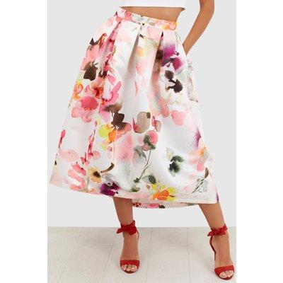 Multi Floral High Low Midi Skirt