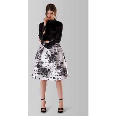 Black and White Floral Pleated Midi Skirt