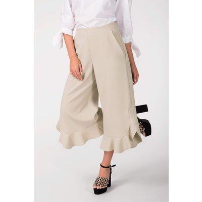 Beige High Waisted Frill Hem Trousers