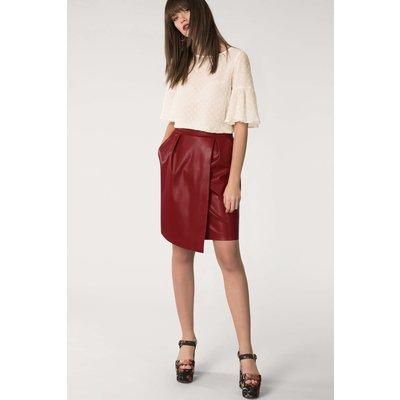Burgundy Pleated Wrap Pencil Skirt