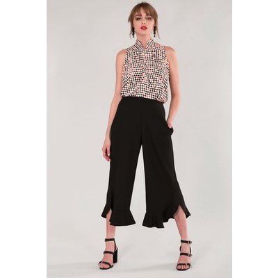 Black High Waisted Frill Trousers