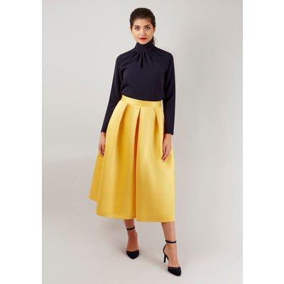 Yellow Satin Pleated Midi Skirt