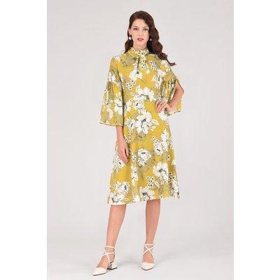 Closet London Lime Floral Trumpet Sleeve A-line Midi Dress