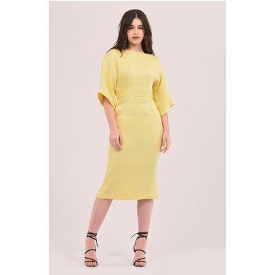 Yellow Kimono Side Slit Midi Dress