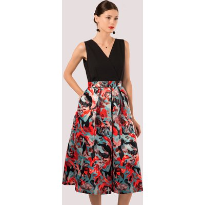Closet GOLD 2-in-1 Graphic Print Full Skirt Dress