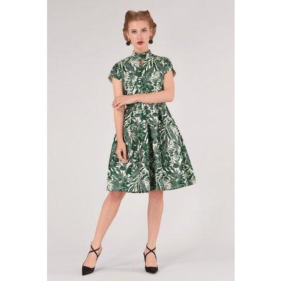 Closet GOLD Green Mandarin Collar Full Skirt Dress