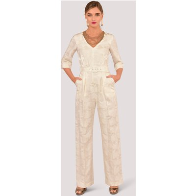 Closet GOLD Ivory Jacquard V-Neck Jumpsuit with Belt