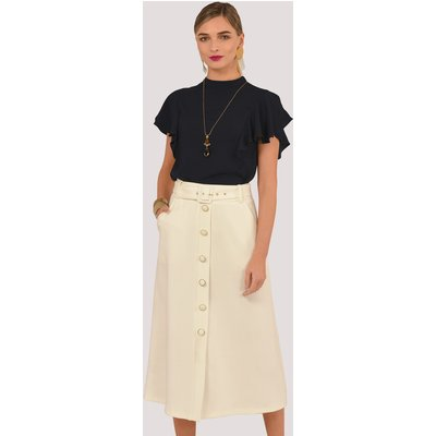 Ivory A-Line Belted Midi Skirt with Buttons