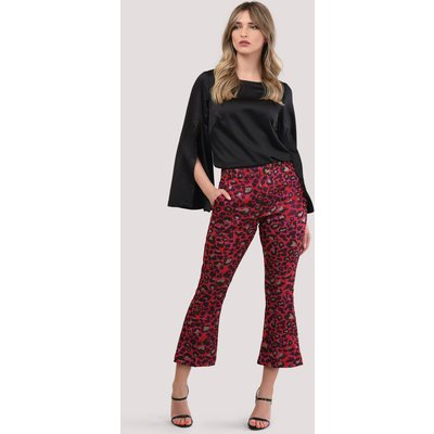 Magenta Leopard Print Bootcut Cropped Trousers