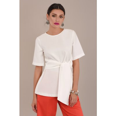Ivory Short Sleeve Top with Tie Waist