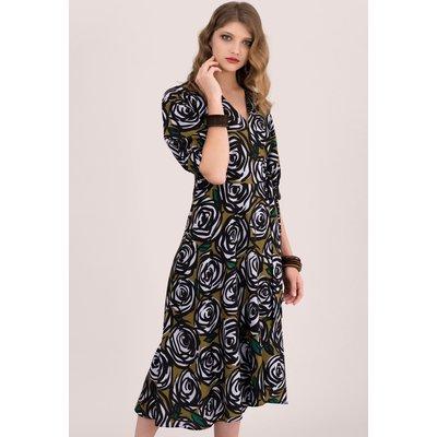 Closet London Rose Printed Puff Sleeve Wrap Midi Dress