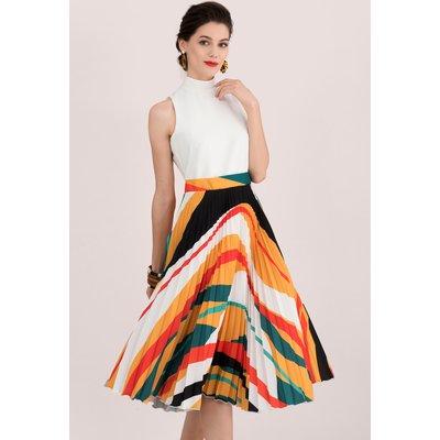 Ivory & Multi 2 in 1 Pleated Midi Dress