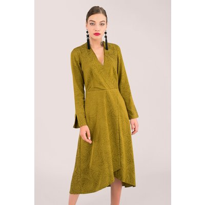 Closet London Khaki Wrap Midi Dress with Split Sleeves