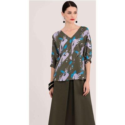 Closet London Khaki Kimono Blouse With Cuff Sleeve