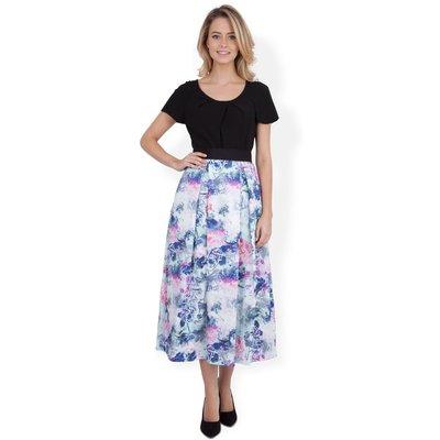 Closet Floral Pleat Midi Skirt