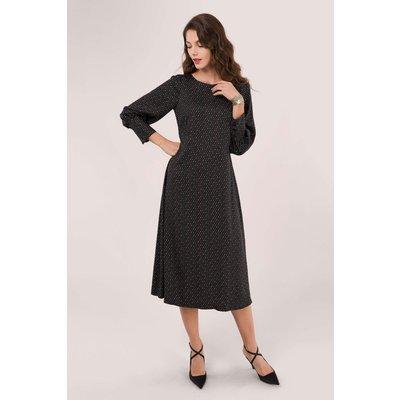 Black A-Line Midi Dress with Side Slit