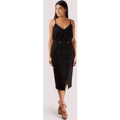 Closet London Black Button Wrap Pencil Skirt