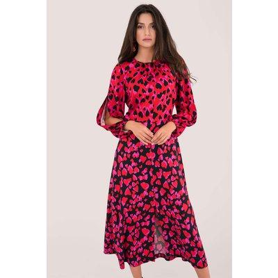 Closet London Red Heart Print Puff Sleeve Midi Dress