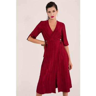 Red Satin Stripe Midi Wrap Dress
