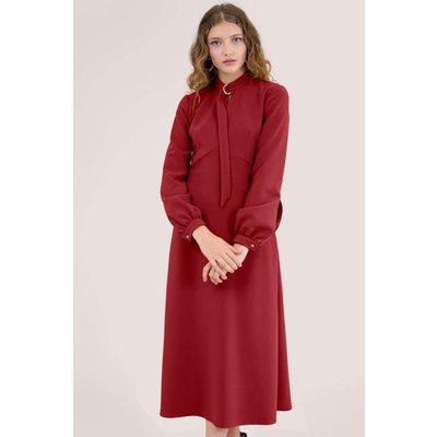 Red D-Ring Collar A-Line Midi Dress