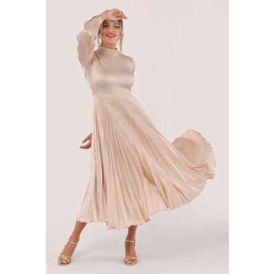 Beige Long Sleeve Pleated Midi Dress