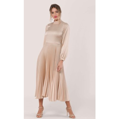 Closet London Beige Long Sleeve Pleated Midi Dress