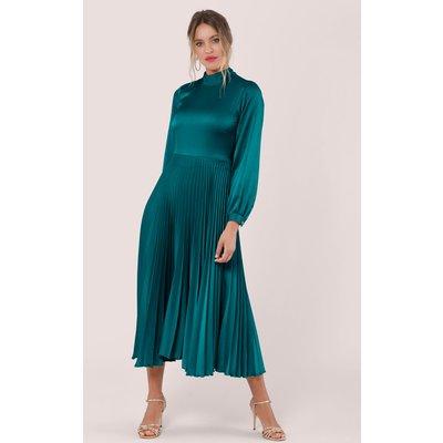 Closet London Teal Long Sleeve Pleated Midi Dress