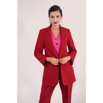 Red Boxy Boyfriend Jacket