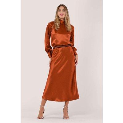 Metallic Rust Satin Midi Skirt
