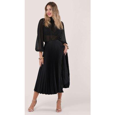 Black Sunray Pleated Midi Skirt