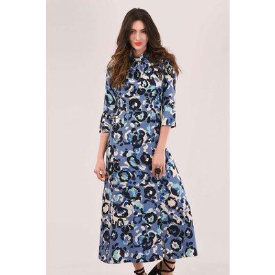 Blue Printed A-Line Midi Dress