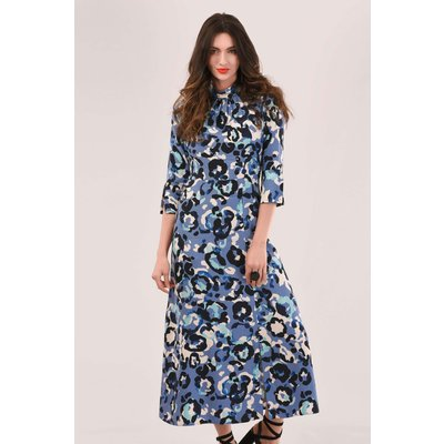 Closet London Blue Printed A-Line Midi Dress