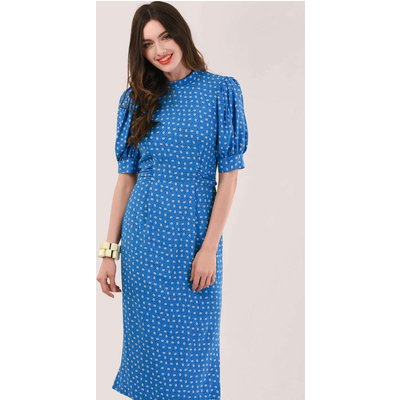 Blue Puff Sleeve Midi Tie Dress