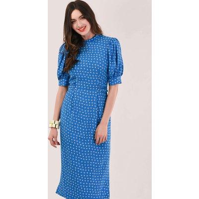 Closet London Blue Puff Sleeve Midi Tie Dress