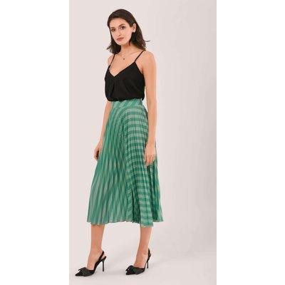 Teal Stripe Pleated Midi Skirt