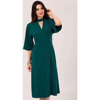 Teal Kimono Sleeve Wrap Midi Dress