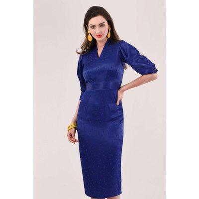 Blue Pleated Sleeve Pencil Dress