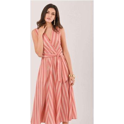 Peach Stripe Sleeveless Wrap Midi Dress