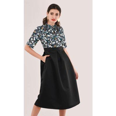 Closet Gold Black & Green Twist Collar Dress